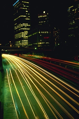 Downtown Highway at Night